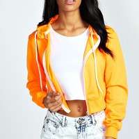 Miranda Neon Crop Zip Through Hoody
