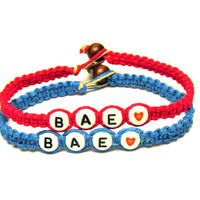 Couples or Friendship Bracelets, BAE, Before Anyone Else, Neon Pink and Bright Blue Hemp and Bamboo Jewelry