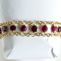Brass Bracelet Garnet Beads Dual Chain Red 6mm Garnet by Spoon37