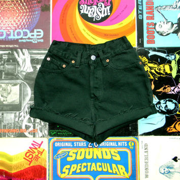 Vintage LEVIS Dark Forest Green Denim Cut Offs, 80s High Waisted Jean Shorts, Frayed/Cuffed/Naturally Distressed HIGH WAIST Shorts Size 0 xs