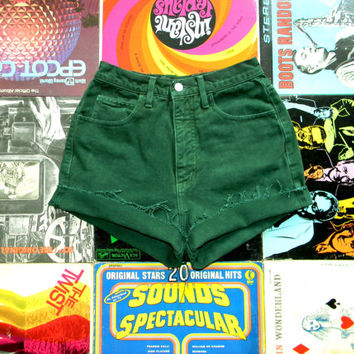 Vintage GUESS JEANS Green Denim Cut Offs, 80s High Waisted Jean Shorts, Frayed/Cuffed/Naturally Distressed High Waist Shorts Size 2/4 Small