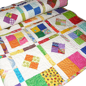 Bright Colorful Baby or Throw Quilt, Geometric Patchwork Quilt