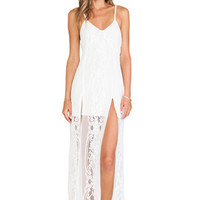 For Love & Lemons Long Horn Maxi Dress in White