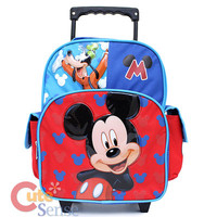 """Disney Mickey Mouse Roller Backpack 12"""" Toddler Small Bag with Goofy at Cut"""