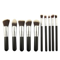 BESTOPE® Premium Synthetic Kabuki Makeup Brush Set Cosmetics Foundation Blending Blush Eyeliner Face Powder Brush Makeup Brush Kit (10PCS Black+Silver)