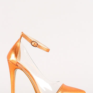Liliana Olga-1C Metallic Clear Pointy Toe Stiletto Pump