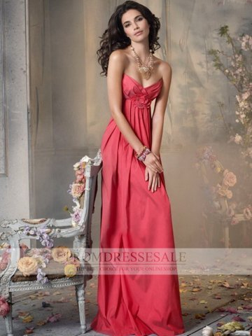 Watermelon Floor Length Satin Sweetheart Hand Made Flower Empire Prom Dresses