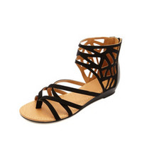 STRAPPY CUT-OUT ANKLE CUFF SANDALS