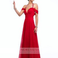 Red Floor Length Chiffon Off-the-shoulder Beads A-line Prom Dresses