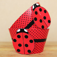 Printable 3D Ladybug Party Cupcake Wrapper Set in red and black polka dots – great for kids birthdays - INSTANT DOWNLOAD