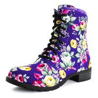 Generation19 Lace up Floral Mid Knee Boot Four-Seasons