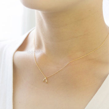 Tiny Wishbone Necklace / Choose your color / gold and silver