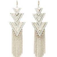 RHINESTONE CHEVRON TRIANGLE CHANDELIER EARRINGS