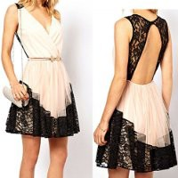 MP White V Neck Lace Dress with Cut Out Back 051312 NDP 0705