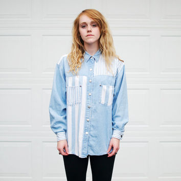 Vintage Striped Denim Button Up - M