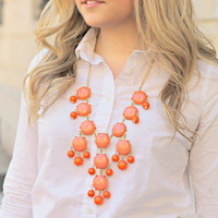 Coral Bib Necklace, Bubble Necklace, 25mm Large Beads,Fashion Statement Women Necklace,Girls Gift Necklace,Bridesmaid Gift