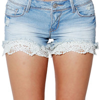 Papaya Clothing Online :: LACY DENIM SHORTS