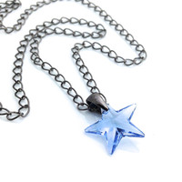 Star Necklace, Blue Crystal Star Pendant, Light Blue, Gunmetal Jewelry, Swarovski Crystal Pendant Necklace, 561