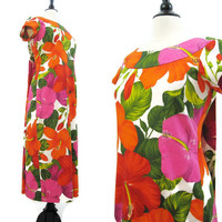 Hawaiian Dress Vintage 60s 70s Watteau Back Long Maxi Midi Floral  M L