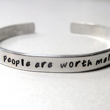 Friendship Bracelet - Some People are Worth Melting For - Hand Stamped Aluminum Cuff - customizable