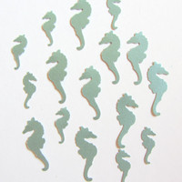 Nautical Seahorse Cutouts Confetti  Sea Green by CereusArt on Etsy