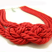 Coral Red Sailor's Knot Necklace by IremOzerdemDesigns on Etsy