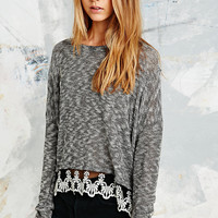 Pins & Needles Crochet Trim Jumper in Mono - Urban Outfitters