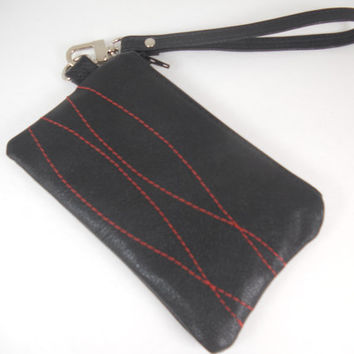 Small Black Leather Zipper Wristlet, Repurposed Leather Wristlet, Small iPhone Wallet, Mobile Accessory, Accessory Pouch, Ready to Ship