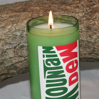 Mountain Dew Candle, Upcycled Soda Bottle, Highly Scented in Mountain Dew Fragrance