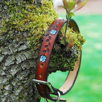 Leather Dog Collar, Painted Flower Vine dyed Medium Brown by Real Leather | Hatch.co