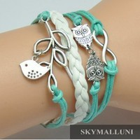 CHOPMALL(TM)Vintage Infinity Bracelet Love Nautical Anchor Skyblue Rope White Leather