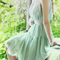 Minty Green Fairy. Soft Feminine Chiffon Mint Sleeveless Dress | GlamUp - Clothing on ArtFire