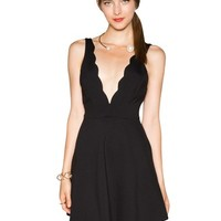 Lea Scalloped Little Black Dress
