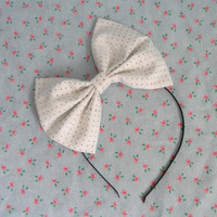 Kawaii Large Hair Bow White with Black Polka Dots by CuteAdorables