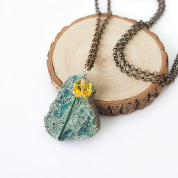 Raw Turquoise Stone Necklace with Yellow Clover Swarovski Crystal, Luck In The Forest Inspired Jewelry