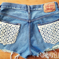 Destroyed High Waisted Shorts Levis Lace by UnraveledClothing