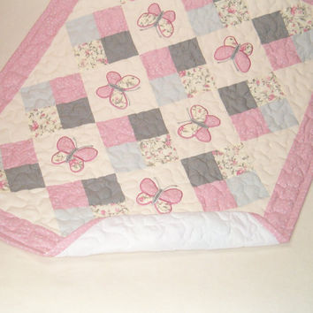 Geometric Baby Quilt, Patchwork, Appliqué Bedding,  Pink and Gray