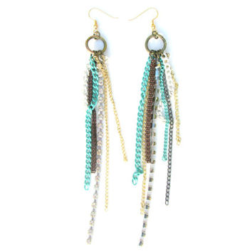 Blue, Brown, and White Tassle Earrings / Handcrafted Turquoise, Brown and White Chain Earrings, Non-Hypoallergenic Hook, Dangling Earrings