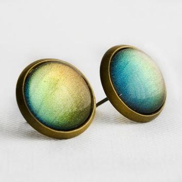 Blue, Green and Olive Color Shifting Post Earrings in Antique Bronze - Blue, Green, Olive and Yellow Colour Shifting Stud Earrings