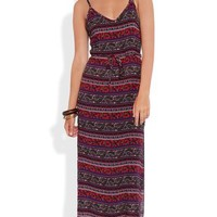 All over boho print spaghetti strap slip maxi day dress
