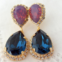 Navy blue and purple opal Chandelier earrings, Drop earrings, Dangle earrings, Bridal earrings, Swarovski earrings, Gold or silver