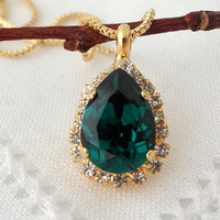 Emerald Green Swarovski rhinestones necklace, Dark green, Emerald green pendant necklace, Bridesmaid gifts, Bridal necklace, Gold or silver