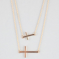 Full Tilt 2 Row Side Cross Necklace Gold One Size For Women 21453862101