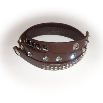 Brown Triple Wrap Studded Leather Bracelet Ships FREE to USA ONLY