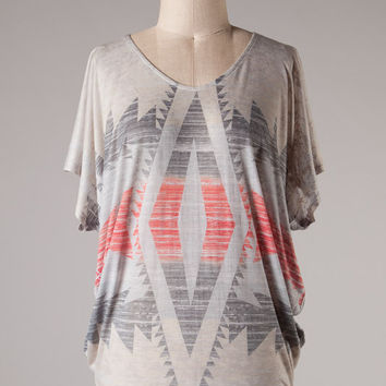 Gray and Red Aztec Dolman Top