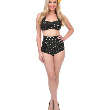 Unique Vintage Black & Cream Polka Dot High Waist Swim Bottoms
