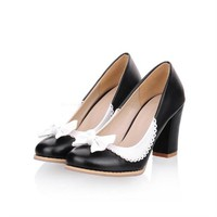 Charm Foot Fashion Bows Womens Chunky High Heel Heel Pump Shoes