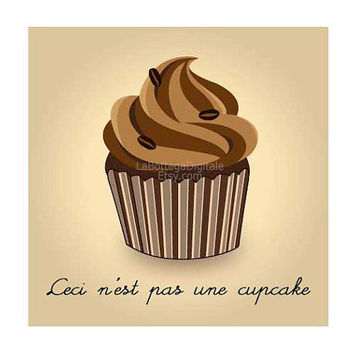 """Magritte inspired cupcake toppers, 2"""", instant download, """"Ceci n'est pas une cupcake"""", printable stickers,clipart,scrapbook embellishments"""