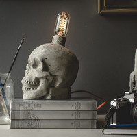 Concrete Skull Lamp