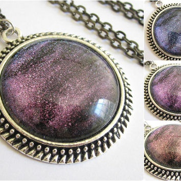 Deep Space - Circle Necklace - Science Jewelry - Galaxy Jewelry - Physics Jewelry - Planet Jewelry - Galaxy Necklace - Glass jewelry